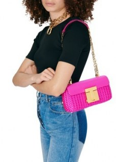 TOM FORD 001 chain medium shoulder bag Hot Pink – elongated chain strap bags - flipped