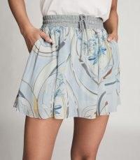 Reiss YASMINE SWIRL PRINTED MINI SKIRT BLUE/GREY | drawstring waist skirts
