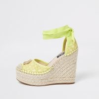 River Island Yellow RI ankle tie wedge sandals ~ beautiful summer wedges