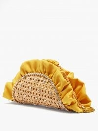 ROSANTICA Taco crystal-embellished rattan clutch bag – yellow ruffled bags – luxe accessories