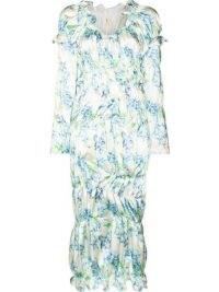 yuhan wang Lemon print midi dress ~ romantic gathered dresses