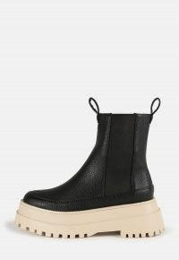 zara mcdermott x missguided black contrast sole pull on chunky ankle boots