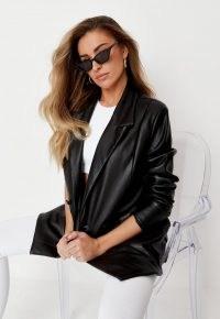zara mcdermott x missguided black soft faux leather oversized blazer ~ celebrity fashion collaborations