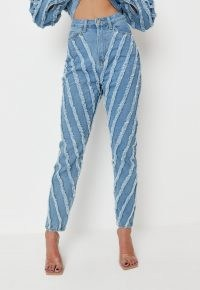 zara mcdermott x missguided blue co ord wrath extreme fray seam jeans | frayed denim