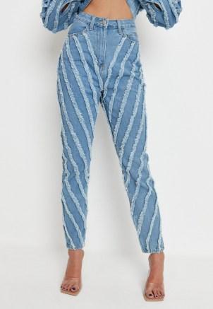 zara mcdermott x missguided blue co ord wrath extreme fray seam jeans | frayed denim - flipped
