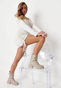 zara mcdermott x missguided cream buckle strap lace up chunky sole ankle boots ~ celebrity inspired footwear
