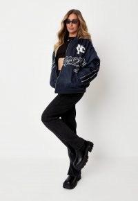 zara mcdermott x missguided navy players varsity jacket ~ casual weekend jackets