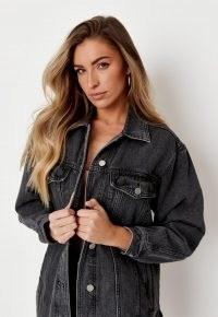 zara mcdermott x missguided recycled black oversized denim jacket