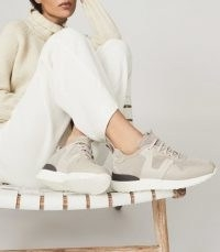 Reiss ZENNA SUEDE TRAINERS TAUPE | sports luxe sneakers