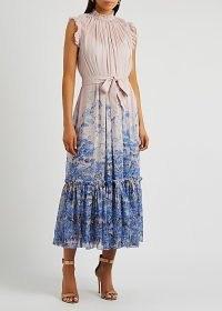 ZIMMERMANN Luminous printed chiffon midi dress ~ romantic style occasion dresses ~ painterly floral prints