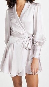 Zimmermann Silk Wrap Mini Dress ~ lavender tie waist dresses