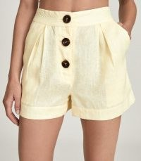 REISS ALBE HIGH WAISTED LINEN SHORTS YELLOW ~ summer fashion
