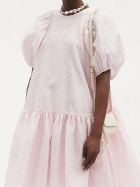 CECILIE BAHNSEN Alexa floral matelassé dress in pink | voluminous loose shape dresses with puff sleeves