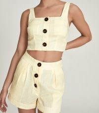 REISS ALMA CROPPED LINEN TOP YELLOW ~ square neck crop tops