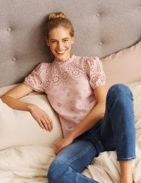 BODEN Altheda Broderie Top / feminine pink cut out tops