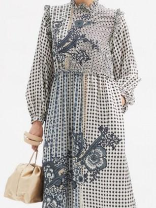 BIYAN Ampera mosaic-print silk dress / romantic mixed print ruffle trim dresses - flipped