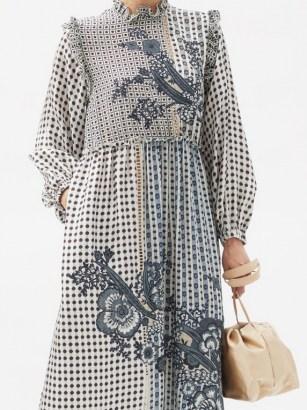 BIYAN Ampera mosaic-print silk dress / romantic mixed print ruffle trim dresses