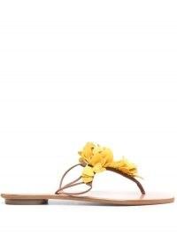 Aquazzura Yellow Bougainvillea flat sandals / floral summer flats