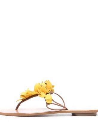 Aquazzura Yellow Bougainvillea flat sandals / floral summer flats - flipped