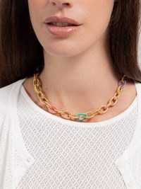SYLVIA TOLEDANO Atlantis enamel textured chain necklace – multicoloured chunky cable link necklaces