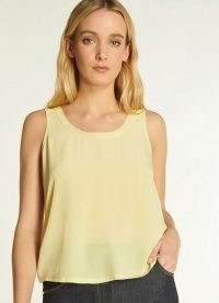 L.K. BENNETT AVA YELLOW SILK AND JERSEY VEST TOP / luxe summer tank