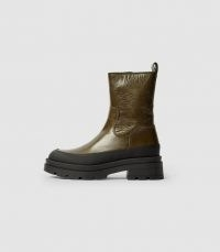 REISS AVE LEATHER STOMPER BOOTS OLIVE ~ green chunky sole boot