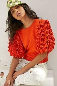 Stella Pardo Greta Ruffled Knitted Tee in Orange
