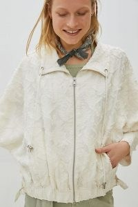 ANTHROPOLOGIE Savita Woven Jacket ~ white textured jackets