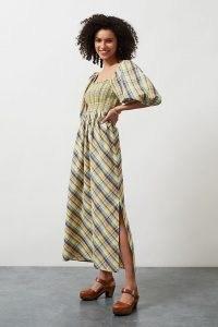 Anthropologie Checked Puff Sleeve Midi Dress   smocked bodice dresses