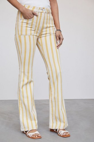 Pilcro The Icon Flare Jeans Yellow Motif | striped denim - flipped