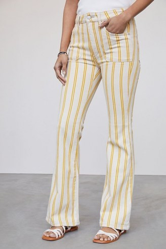 Pilcro The Icon Flare Jeans Yellow Motif | striped denim