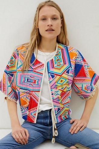dRA Castilla Geometric Kimono Jacket – bright embroidered jackets - flipped