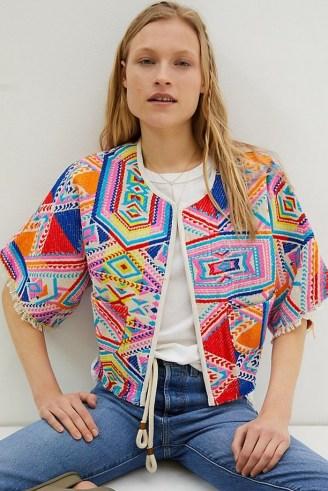 dRA Castilla Geometric Kimono Jacket – bright embroidered jackets
