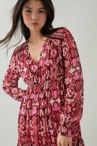 Suncoo Cherry Print Mini Dress – printed V-neck dresses - flipped