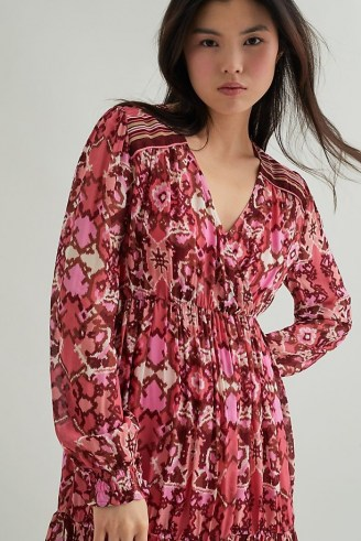 Suncoo Cherry Print Mini Dress – printed V-neck dresses