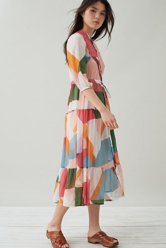 Suncoo Celena Abstract-Print Midi Dress - flipped