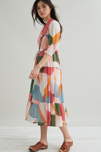 Suncoo Celena Abstract-Print Midi Dress