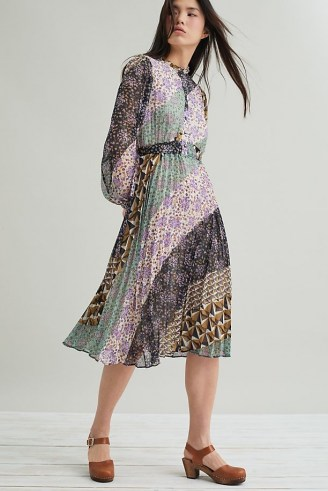 Suncoo Carissa Pleated Midi Dress – multi print dresses
