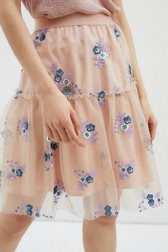 Eva Franco Belle Sequinned Tulle Mini Skirt – floral sheer overlay skirts - flipped
