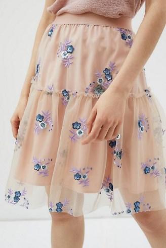 Eva Franco Belle Sequinned Tulle Mini Skirt – floral sheer overlay skirts