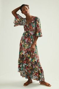 Farm Rio Fiesta Wrap Maxi Dress Brown Motif