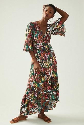 Farm Rio Fiesta Wrap Maxi Dress Brown Motif - flipped