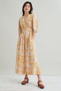 Suncoo Ceres Wrap Midi Dress Yellow Motif
