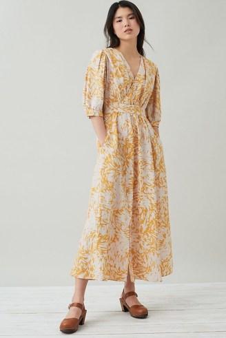 Suncoo Ceres Wrap Midi Dress Yellow Motif - flipped