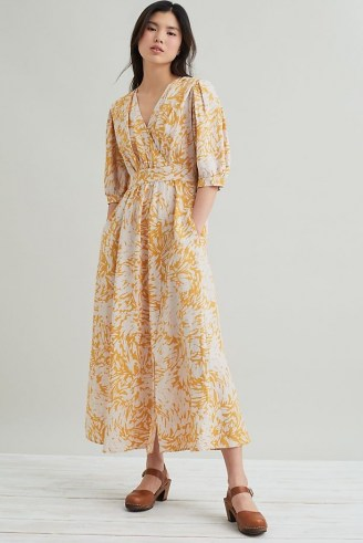 Suncoo Ceres Wrap Midi Dress Yellow Motif