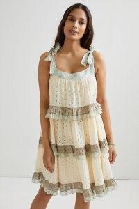 Forever That Girl Effie Eyelet Mini Dress / floral trim summer dresses / tie shoulder straps / ruffle details