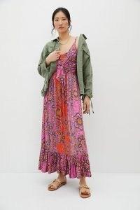 ANTHROPOLOGIE Andie Tie-Front Maxi Dress Pink Combo