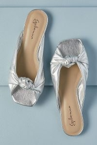 Guilhermina Knotted Metallic Mules Silver