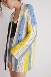 Maeve Striped Longline Cardigan Blue Motif / colour block cardigans