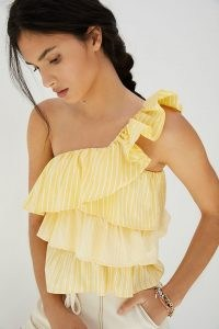 Maeve Ruffled One-Shoulder Blouse Yellow Motif ~ striped asymmetric neckline tops
